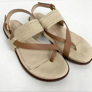 Cole Haan Anica Thong Sandals Leather Woven Straw